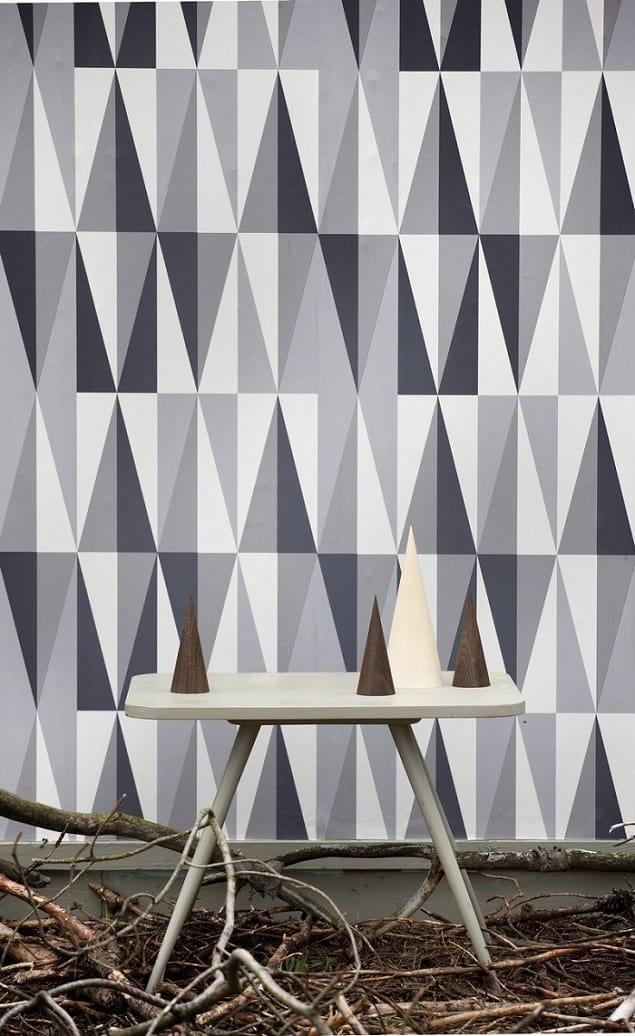 Ferm Living Geometric Wallpaper -  Spear in Grey