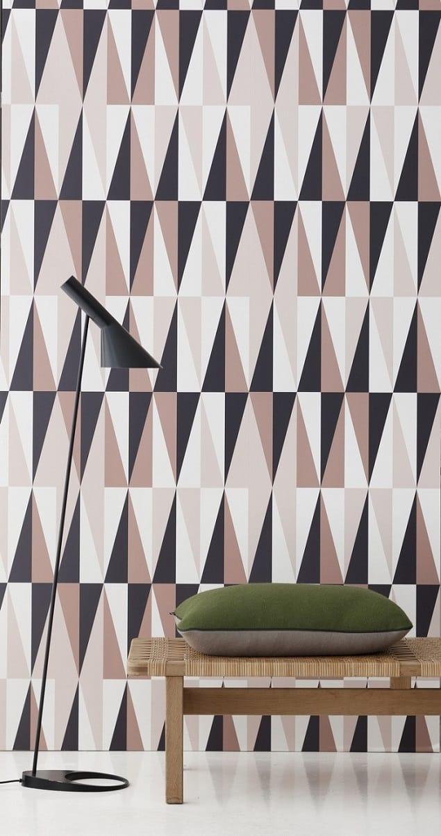 Ferm Living Geometric Wallpaper - Spear in Rose