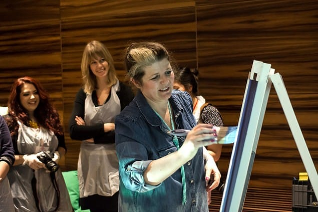 Marianne Shillingford Creative Director Dulux gives a Flocking workshop at Meet the Blogger London