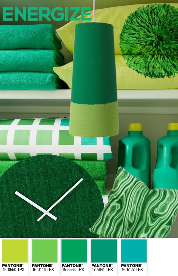 Pantone Emerald Green energize moodboards