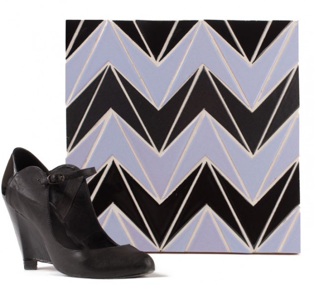 The Runway Collection of Ceramic Tiles by Fireclay Corset in Lavender, Black Gloss and Charcoal Matte
