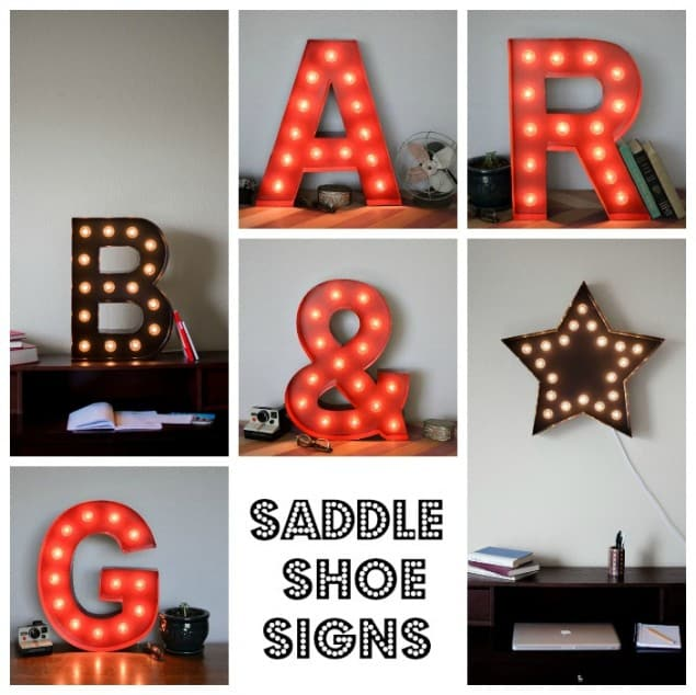 Saddle Shoe Signs vintage inspired marquee lights