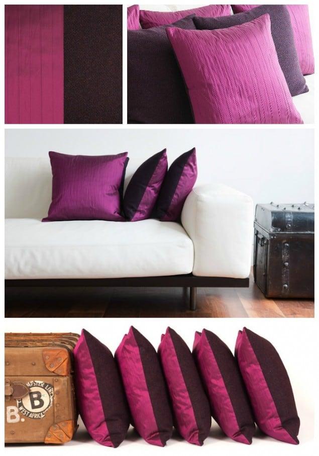 Thread & Favour Dark Plum & Fuchsia Cushions