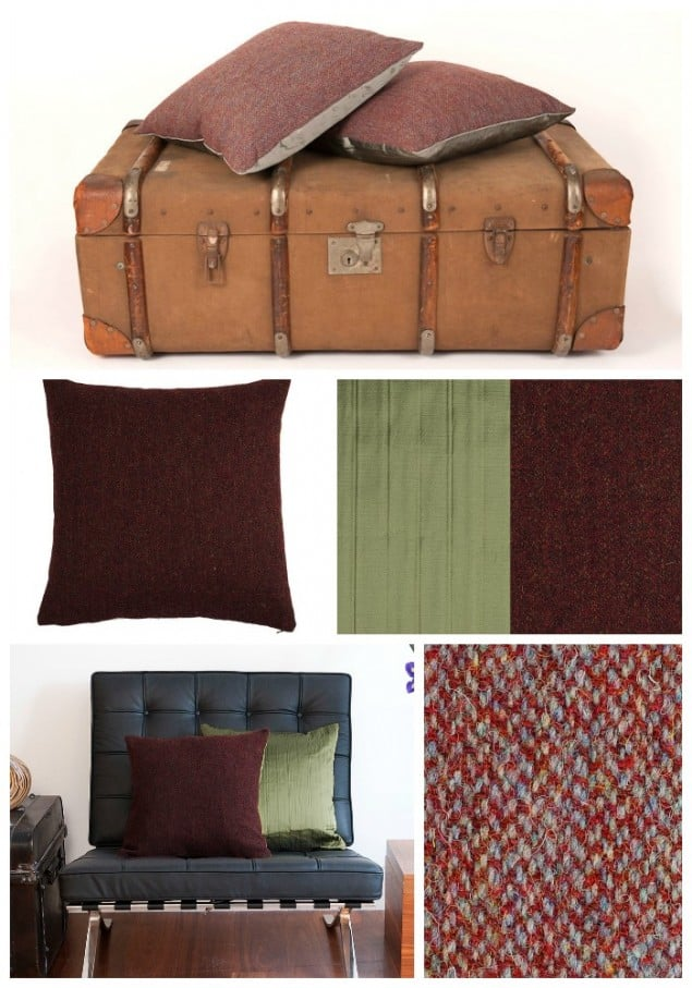 Thread & Favour Dark Red & Muscat Green Cushions