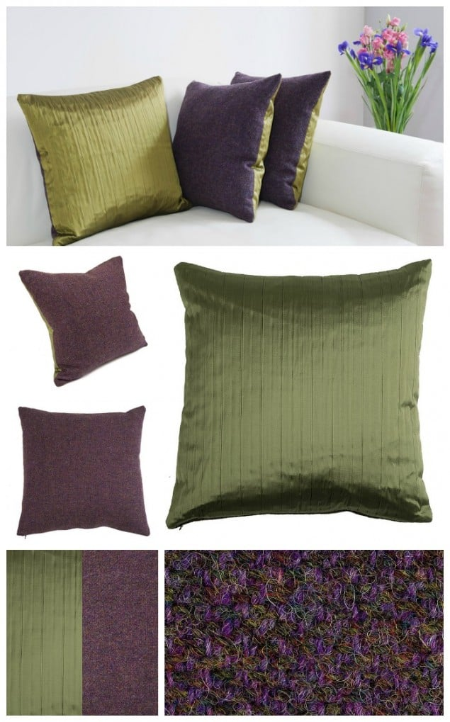 Thread & Favour Purple & Muscat Green Cushions