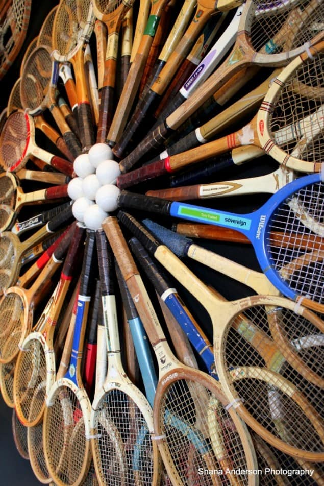 Matchpoint vintage tennis racquet installation by Timothy Oulten