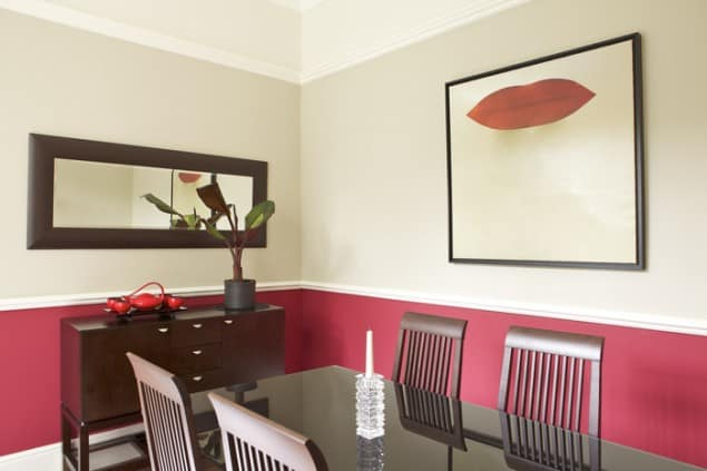 Bold Red And White Dining Room by Farrow & Ball