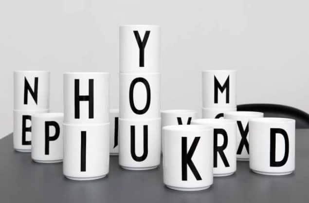 Design Letter + Arne Jacobsen vintage typography Porcelain cups