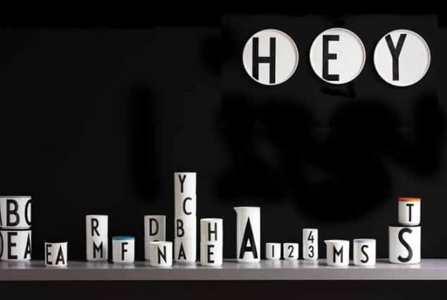 Design Letters + Arne Jacobsen vintage typography porcelain