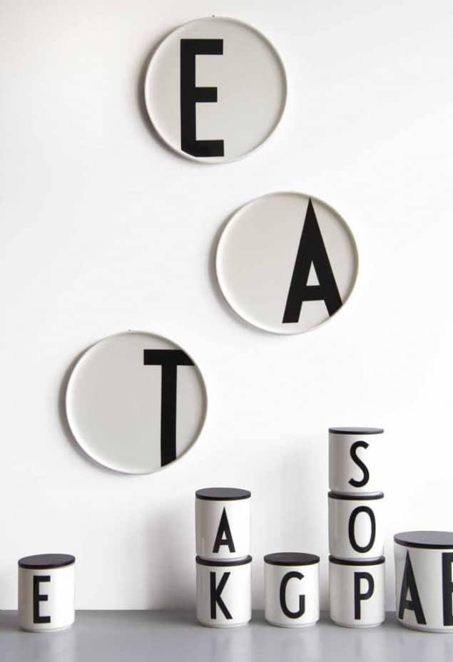 Design Letters Arne Jacobsen vintage typography porcelain plates & jars