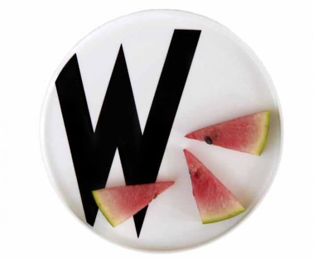 Design Letters & Friends Arne Jacobsen Vintage ABC W plate cut-out with watermelon slices