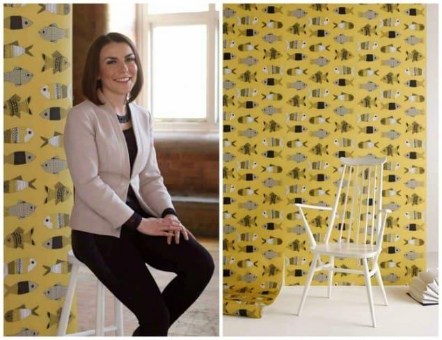 Kate Usher Fish Wallpaper New Wave Graham & Brown