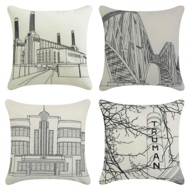 Icon embroidered cushions from The Futon Company