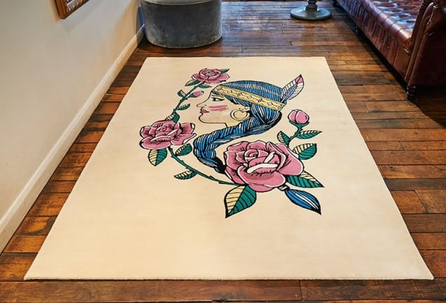 Rob Pybus Headress tattoo rug from Floor Story
