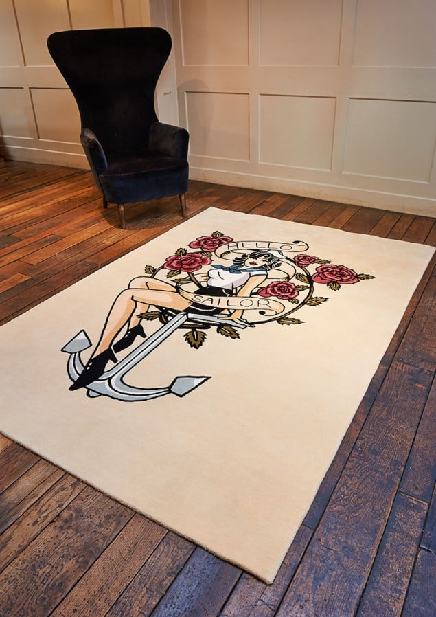 Rob Pybus Hello-Sailor tattoo rug from Floor Story