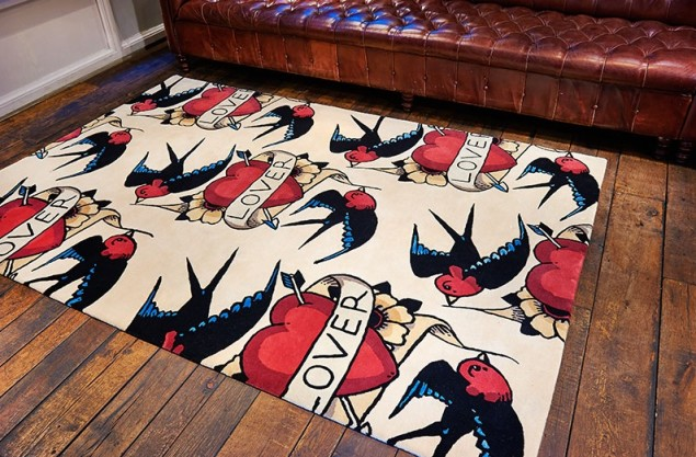 Rob Pybus Lover tattoo rug from Floor Story
