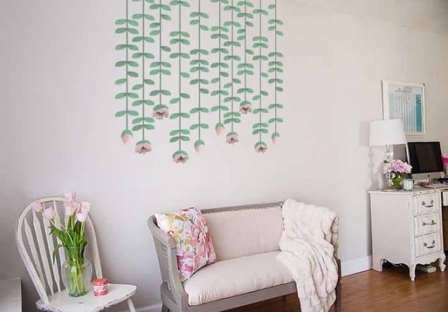 Vinyl Impression Wall Decal -HANGING-FLOWERS