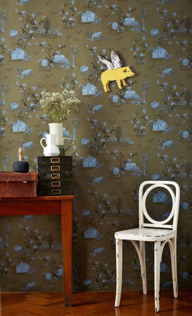 Woodland Magnetic walWoodland Magnetic wallpaper by Nubie khaki