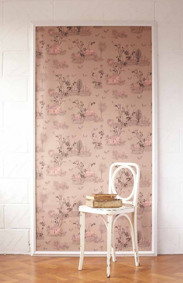Woodland magnetic wallpaper by nubie in brown_pink_with_chair