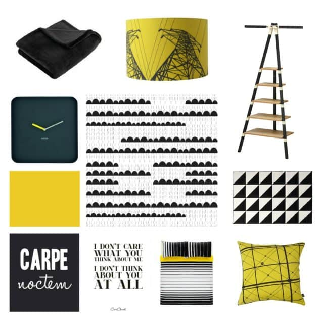 Bedroom Inspiration Moodboard Black White & Yellow