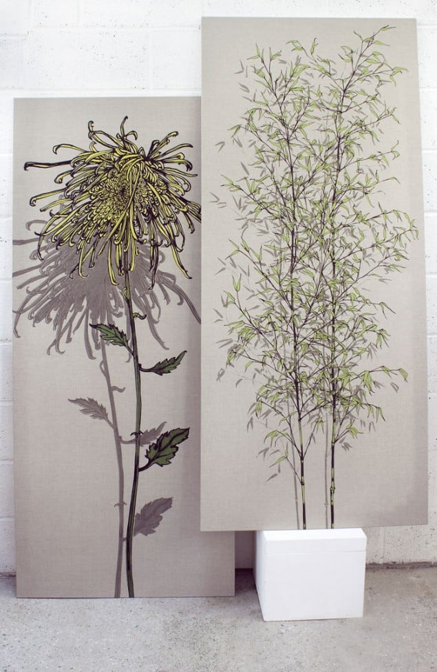 Screen Printed Fabric Panels Chrysanth and Ivy by Sam Pickard
