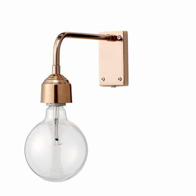 copper exposed bulb wall light