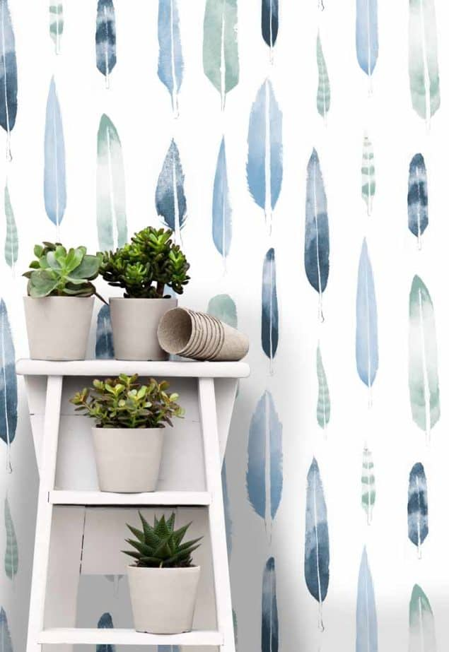 feathers wallpaper in chalkhill by Mini Moderns