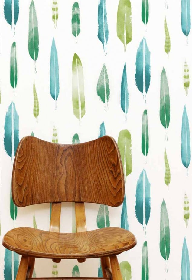feathers wallpaper in emerald  by Mini Moderns