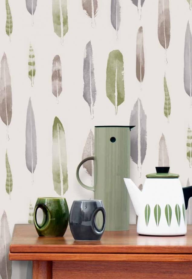 feathers wallpaper in lichen  by Mini Moderns