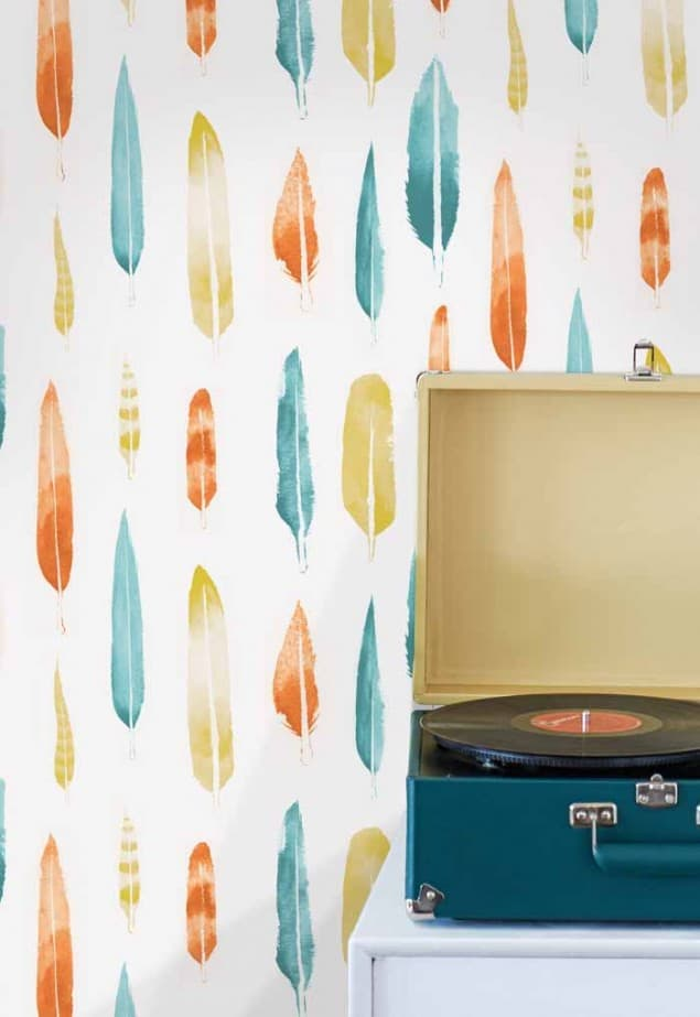 feathers wallpaper in lido  by Mini Moderns