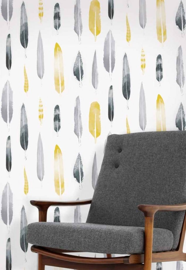 feathers wallpaper in mustard by Mini Moderns
