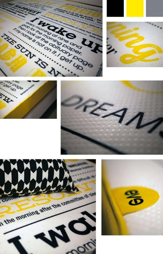 Eve Mattress Special Edition typographic design close ups