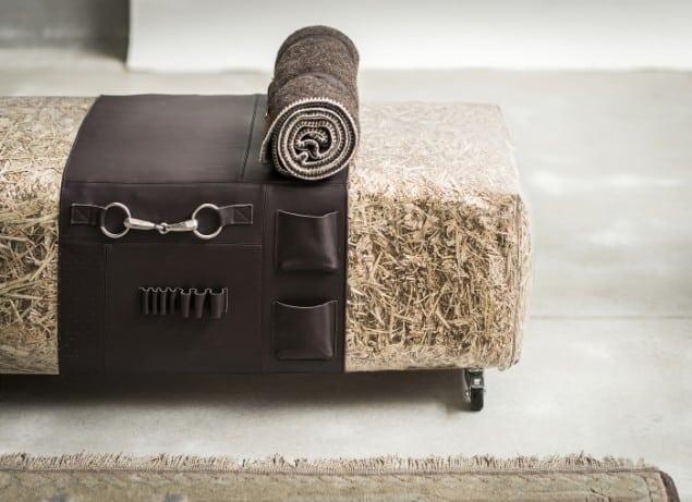 DesRes Straw Bench Leather Detail