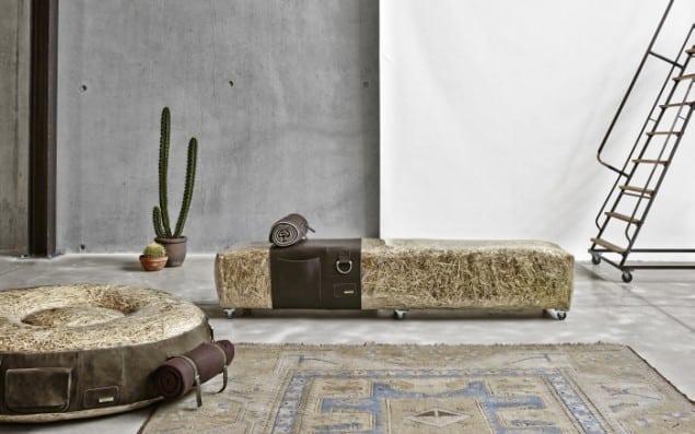 DesRes Straw Bench & Lge Pouf Leather