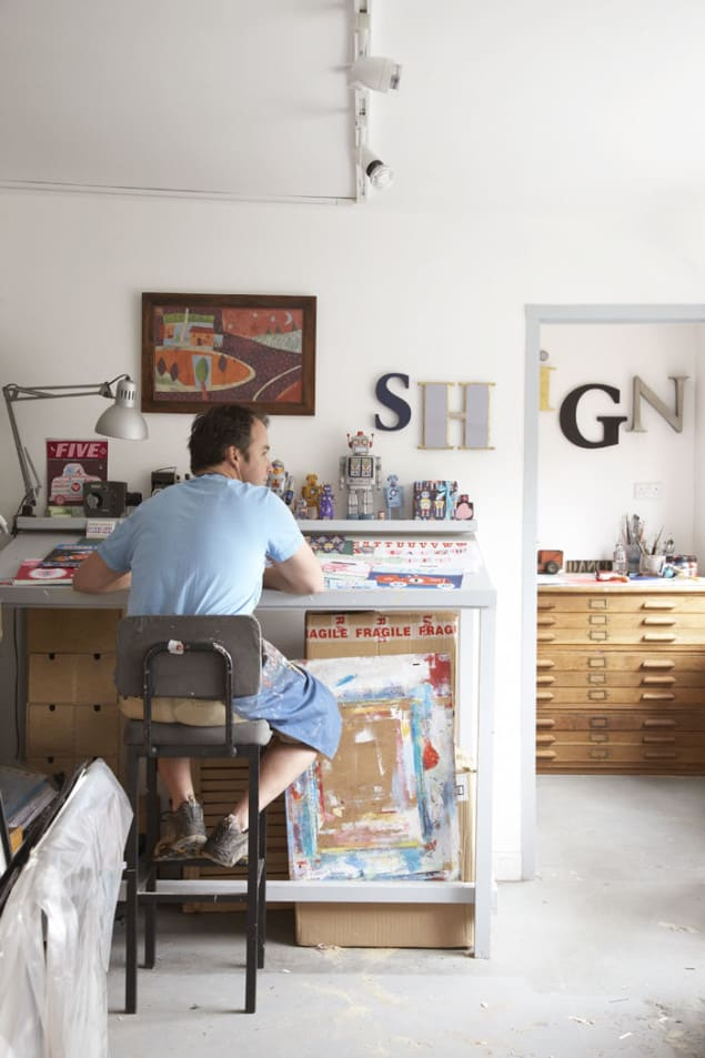 Artist Designer Simon Hart at Work in his Studio