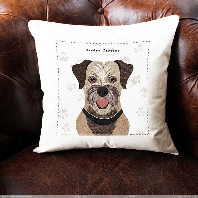 BorderTerrier Cushion by Simon Hart