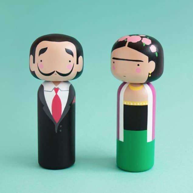 Frida & Dali Kokeshi Dolls by Sketch Inc for Lucie Kaas