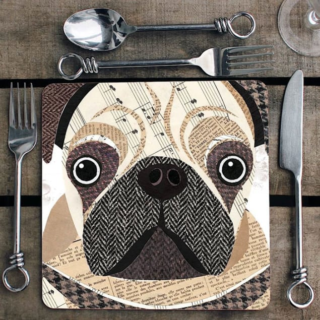 Pug Placemat by Simon Hart