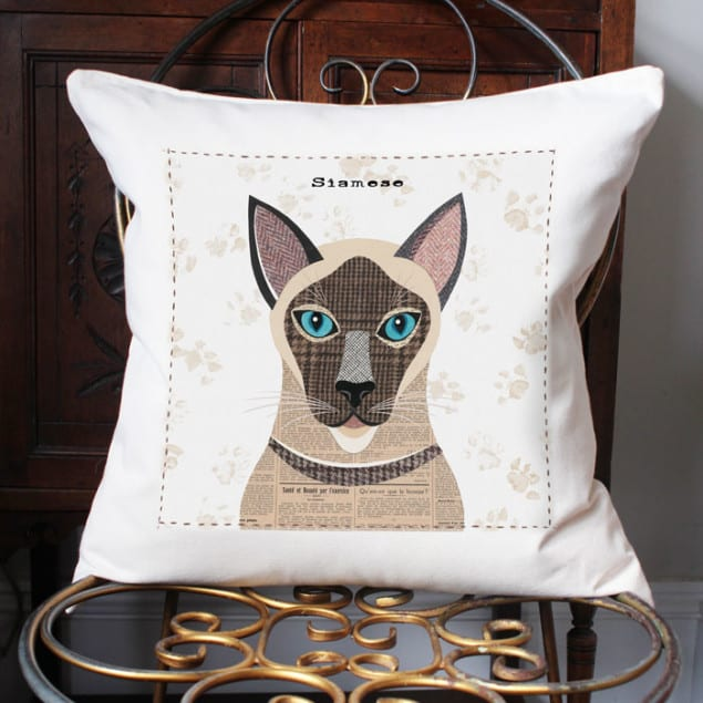 Siamese Cat Cushion by Simon Hart