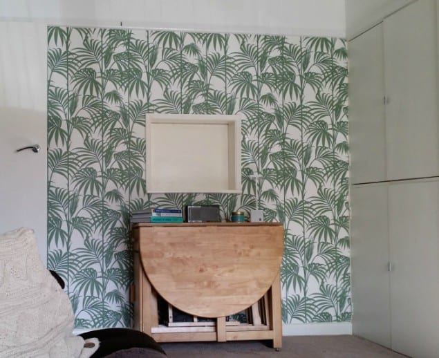 The Design Sheppard Lounge featuring Honolou Palm Wallpaper by Graham & Brown