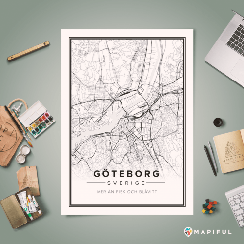 Gothenburg printed poster by Mapiful