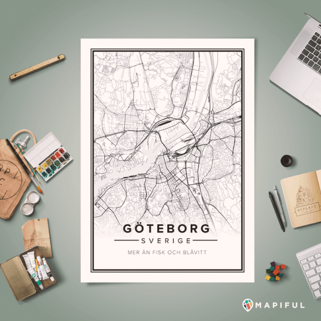Gothenburg printed map posters by Mapiful