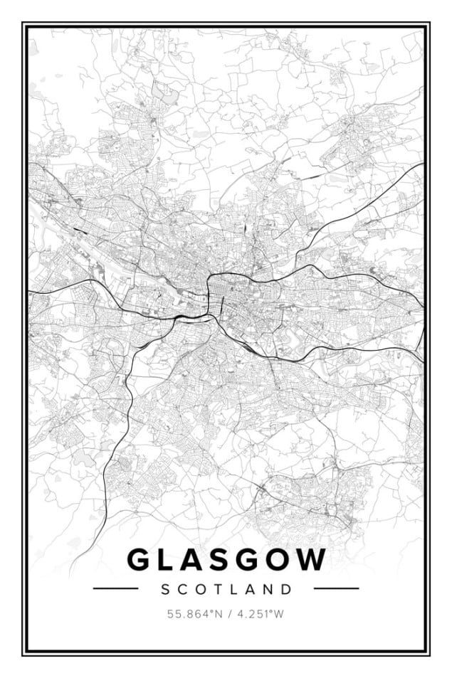 Mapiful Glasgow map posters