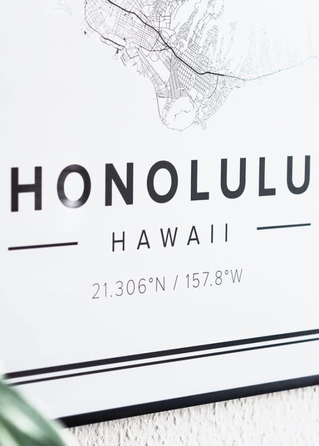 Mapiful Honolulu map posters closeup