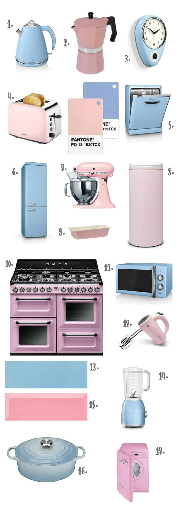 Pantone Colour of the Year 2016 Rose Quartz & Serenity - Products for the Kitchen
