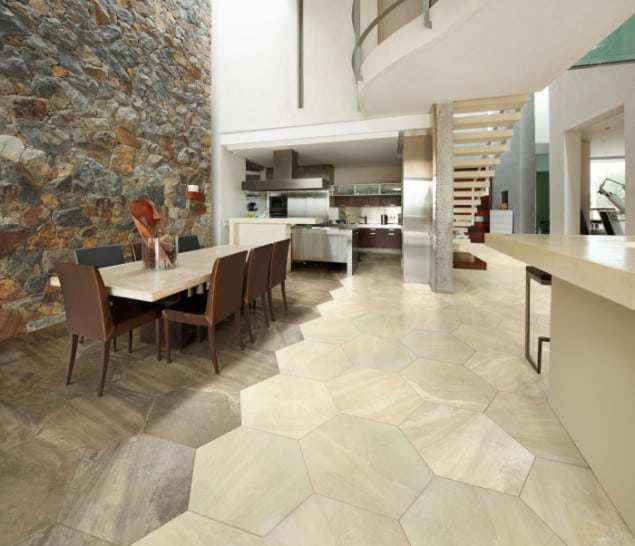 Modern Industrial Giant Hexagon floor tile from Alhambra Home & Garden