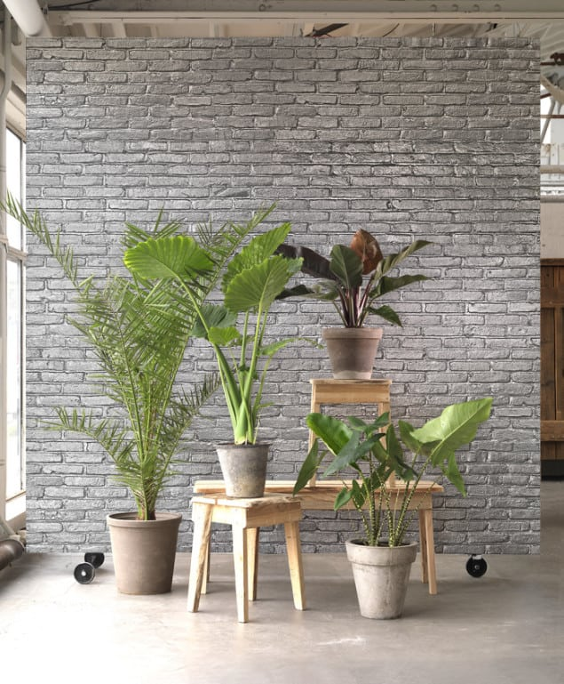 SILVER GREY BRICK WALLPAPER BY PIET HEIN EEK for NLXL