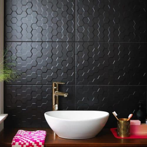 British Ceramic Tiles Form and Function Hex Black Matt Tiles