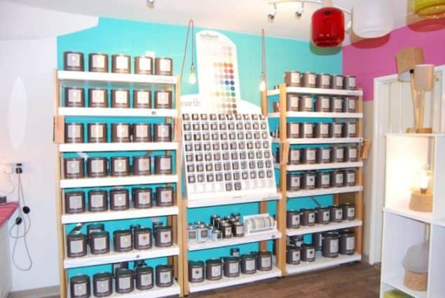Mushroom Designs Totnes Devon Lighting Showroom Earthborn Paint display