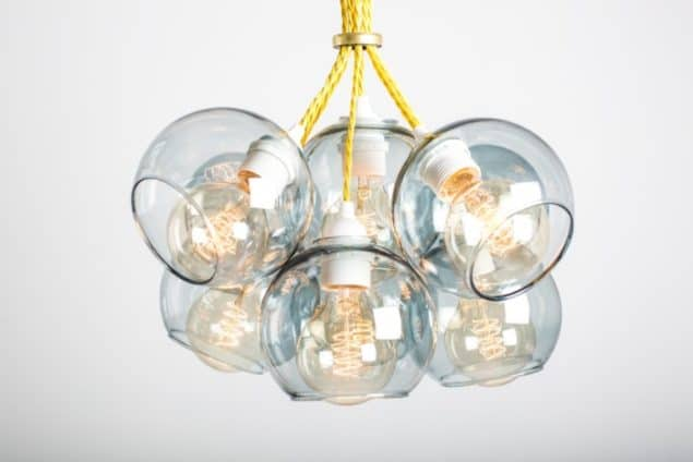 Mushroom designs Totnes Devon atom 9 shade grey glass chandelier